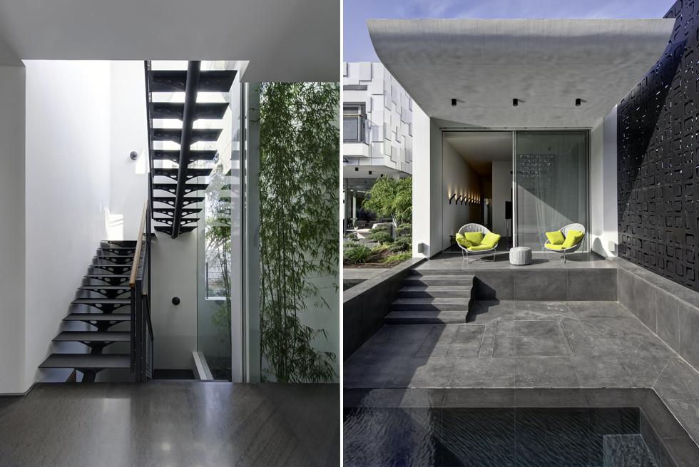 מימין: אזור ההסבה ליד הבריכה, משמאל: גרם המדרגות לצד הפטיו, צילום: Studio Smadar - עודד סמדר