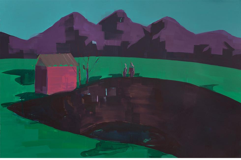 אייל ששון, the pit, 2014, אקריליק על נייר, 120*80, גלריה אורלי בלום