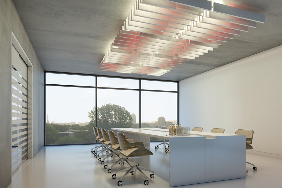 אריחי תקרה בגבהים ובאורכים שונים עם שילוב תאורת LED