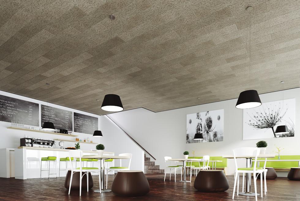 עיצוב אריחי תקרה אקוסטית ייחודית, בגווני אפור המאפשרים עיצוב שונה ומיוחד.