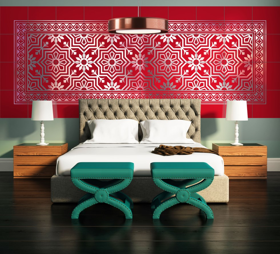 airtiles-interior-wall-cladding-dahlia-pattern-annecy-frame-red-on-silver-aluminum