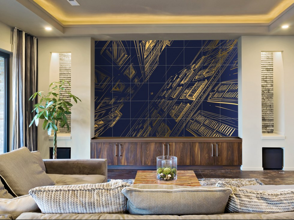 airtiles-mural-skyfall-deep-sea-blue-on-gold-aluminum